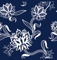 seamless pattern with chinese white flowers vector image