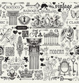 seamless pattern with sketches in vintage style vector image vector image