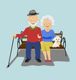 senior couple sitting on the bench with puppy vector image