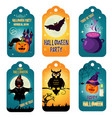 set halloween tags with holiday characters vector image vector image