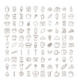 set of doodle cofee icons vector image