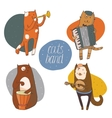 Set of fun cats playing musical instruments - drum vector image vector image