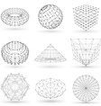 Set of wireframe polygonal elements Abstract vector image vector image