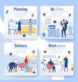 set planning be calm delivery and work space vector image vector image
