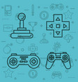 set video game entertaining items symbols vector image