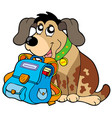 sitting dog with school bag vector image vector image