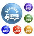 solar energy truck icons set vector image