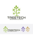 tree tech logo vector image vector image