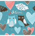 Valentines card Owls couple Seamless pattern vector image vector image