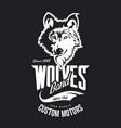 vintage wolf custom motors club t-shirt vector image vector image