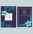wedding invitation card with blue bellflower vector image vector image