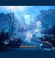 underwater life background light poster vector image
