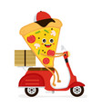 cute smiling funny cute pizza slice rides vector image