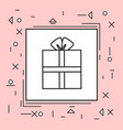 gift box icon thin line in pink frame vector image