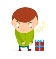 Small boy wants to take a gift box with bow and vector image