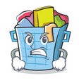 angry laundry basket character cartoon vector image vector image