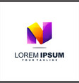 awesome letter n logo design vector image vector image