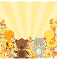 Background invitation card with little animal vector image