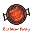 barbecue pan with sausages vector image vector image