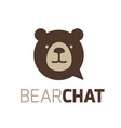 bear chat logo bubble bear bubble talk logo vector image