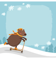 bear riding a scooter winter background vector image vector image
