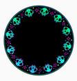beautiful multicolored round cat skull ornament vector image vector image