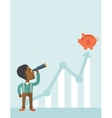 Black guy with telescope to see the graph vector image vector image
