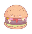 burger character menu restaurant cartoon food cute vector image