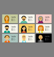business cards with people portraits for your vector image