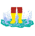 cartoon legs in rubber boots playing in puddle vector image vector image