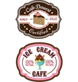 Chocolate pie and ice cream emblems vector image vector image