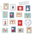 Christmas postal stamps set isolated on white vector image vector image