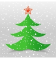 Christmas tree and snow gray background vector image vector image