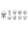 clown icons set outline style vector image