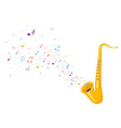 colorful music notes background with saxophone vector image vector image