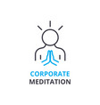 corporate meditation concept outline icon vector image