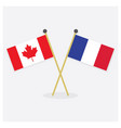 crossed canada and france flags icons with shadow vector image vector image