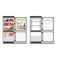 filled with food and empty refrigerators vector image vector image