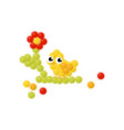 flower and chick made of colorful balls children vector image vector image