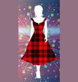 girl in tartan vector image vector image