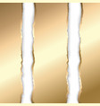 gold and white torn paper template background vector image vector image