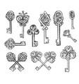 hand drawn sketch of vintage keys vector image vector image