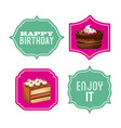 happy birthday sweet dessert celebration vector image vector image