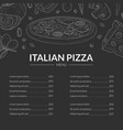 italian pizza menu template traditional italian vector image vector image