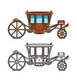 medieval royal carriage icons or wedding chariot vector image vector image