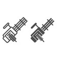 multiple machine gun line and glyph icon vector image vector image