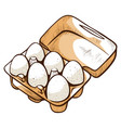 open box with chicken eggs ingredient food vector image