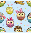 pattern with cute cartoon owls vector image vector image