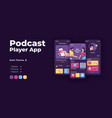 podcasts hosting app cartoon smartphone interface vector image