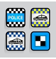Police - set stickers square on the gray vector image
